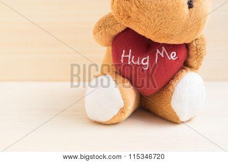 Cute Brown Doll Hug Red Heart