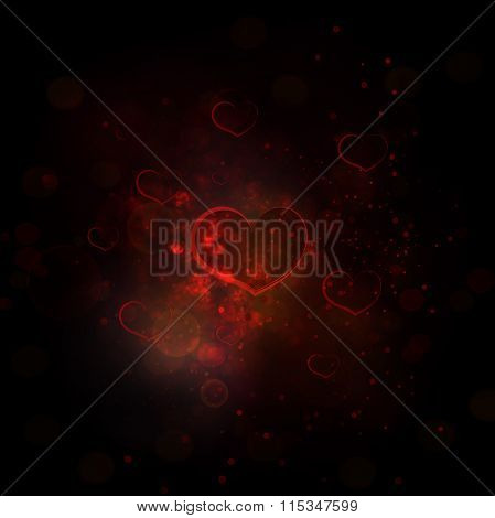 Abstract Red Background With Effect Bokeh, Heart  And Light