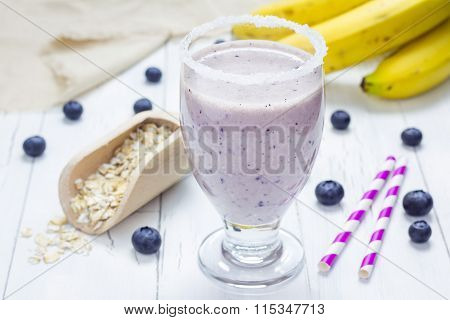 Fresh Smoothie With Blueberry, Banana, Oats, Almond Milk And Yogurt