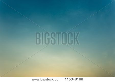 Colorful Clear Sky, Blue And Orange Sunset Sky, Vintage Sky Background