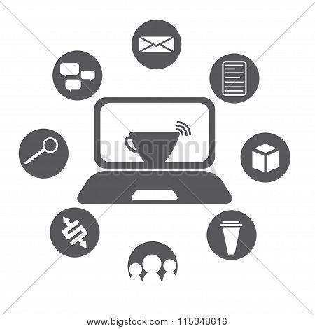 Internet Cafe Flat Design With Icon Set