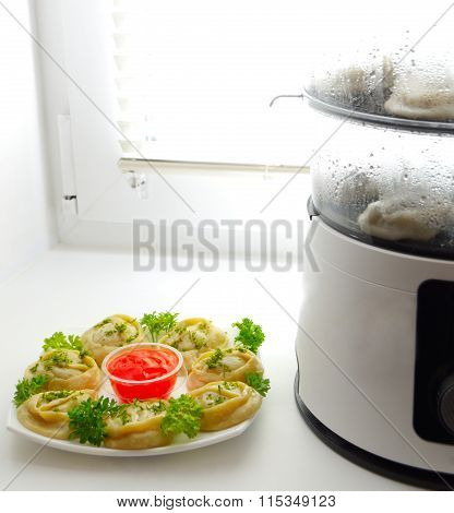 Food Steamer And Dish Of Manta Rays