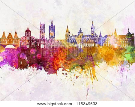 Ghent Skyline In Watercolor Background