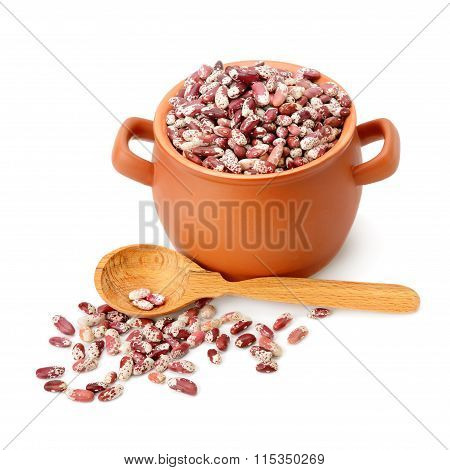 Beans In A Ceramic Pot Isolated On White Background