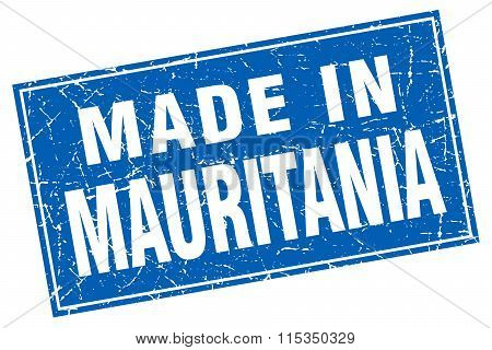 Mauritania blue square grunge made in stamp