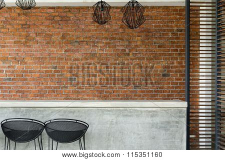 Cement Counter Nightclub With Seat Bar Stool And Brick Wall Background