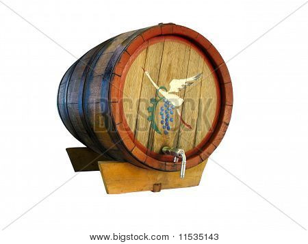 Old Wooden Wine Barrel Isolated On White