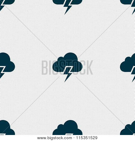 Heavy Thunderstorm Icon Sign. Seamless Pattern With Geometric