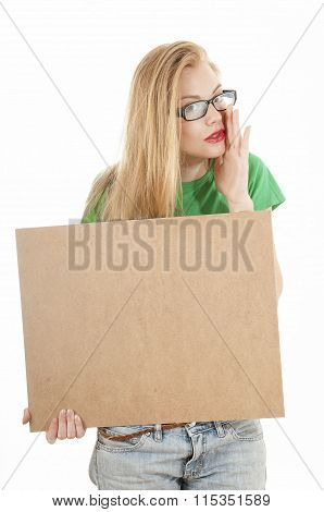 Young Beauty Girl Holding Empty Wooden Notice Board