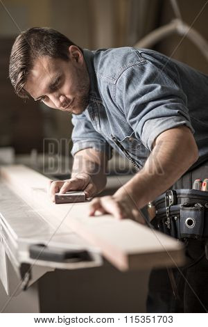 Handsome Carpentry Employee Grinding Board
