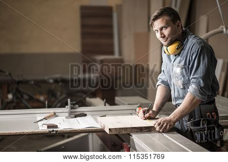 Man In Private Carpentry Workshop