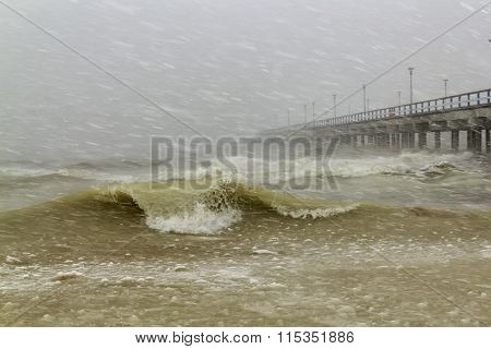 The Storm In The Baltic Sea In Winter