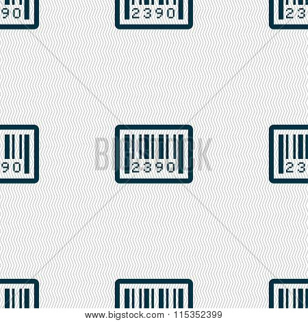 Barcode Icon Sign. Seamless Pattern With Geometric Texture.