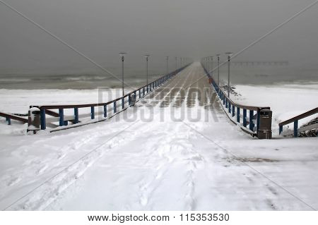 Palanga Pedestrian Bridge In Winter