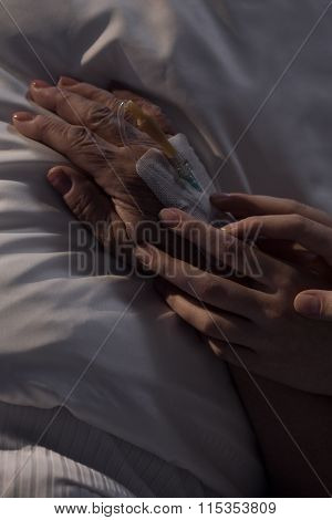 Caregiver Holding Elderly Patient's Hand