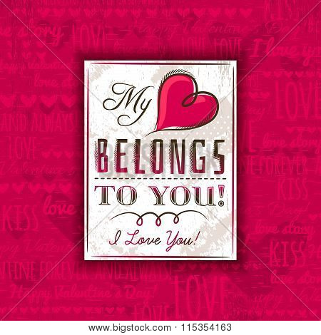 Red Background With Valentine Heart And Greeting Text,  Vector
