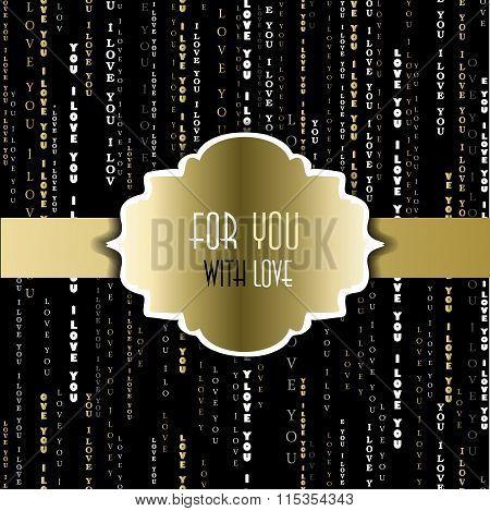 I love you words golden black background.