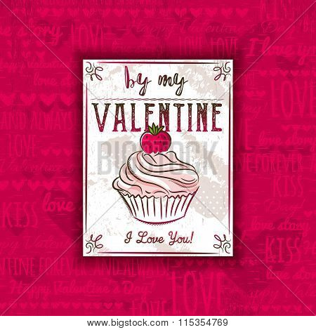 Red Background With Valentine Heart, Muffin And Greeting Text,  Vector