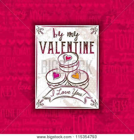 Red Background With Valentine Heart, Cookies And Greeting Text,  Vector