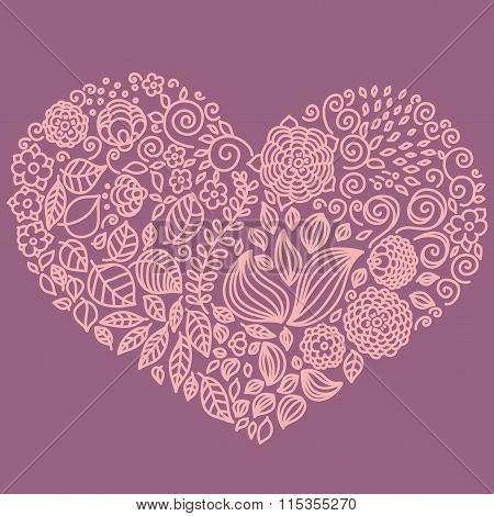 Tattoo floral doodle vector elements set in heart form