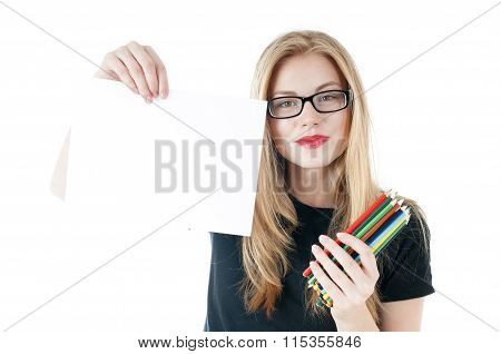 Happy Young Girl With  Colored Pencils  And Empty White Blank  Paper, Wearing Black T-shirt, Denim S