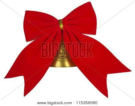 Velvet Red Bow With Bell