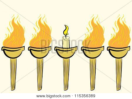 Torch with a candle