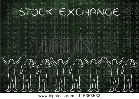 Happy And Sad Traders Facing Market Data, With Text Stock Exchange