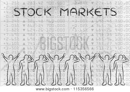 Happy And Sad Traders Facing Financial Data, With Text Stock Markets