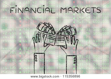 Hands & Wallet With Cash On Stock Exchange Data, With Text Financial Markets
