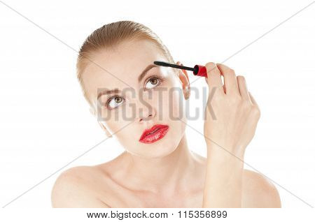 Beautiful Woman Applying Cosmetics Mascara Brush On White Background.eyelashes Zone.