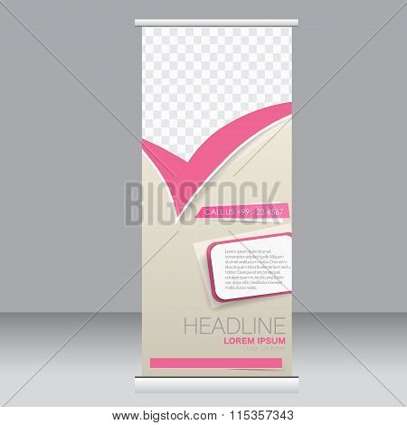 Roll up banner stand template. Abstract background for design.