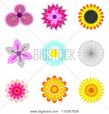 Icons With Elements Of Flowers, Chamomile, Rose, Dandelion, Lily, Magnolia.