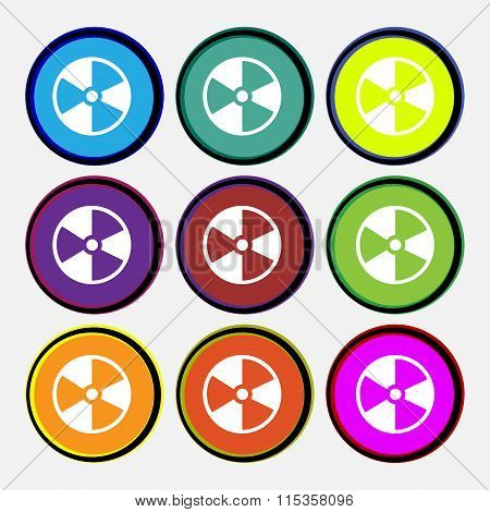 Radioactive Icon Sign. Nine Multi Colored Round Buttons.