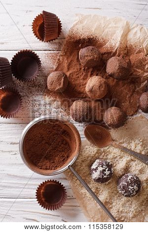 Preparation Of Chocolate Truffles. Vertical Top View