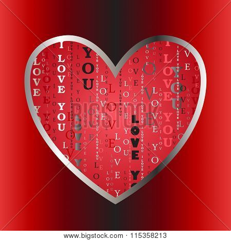 Love card. Heart shape with i love you text.