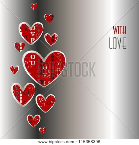 Love card. Heart shapes with i love you text.