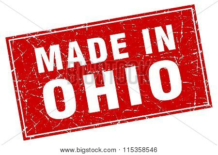 Ohio red square grunge made in stamp