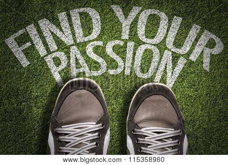 Top View of Sneakers on the grass with the text: Find Your Passion