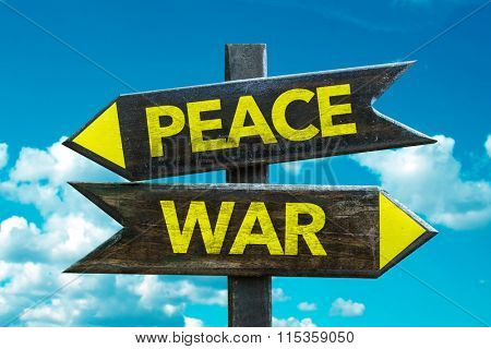 Peace - War signpost with sky background