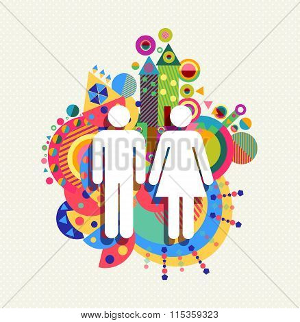 Couple Icon Man And Woman Concept Illustration