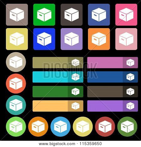 Packaging Cardboard Box Icon Sign. Set From Twenty Seven Multicolored Flat Buttons.