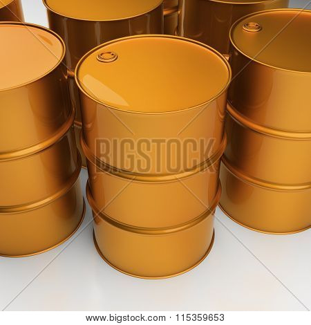 Stack of oil drums. Rows of sreel barrels