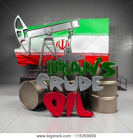 Oil pump and barrels on the background of the flag Iran