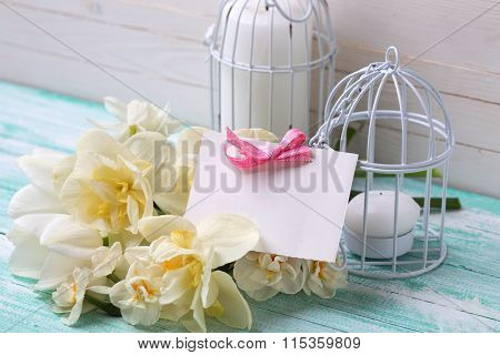 Spring Flowers, Tag And Candles In Decorative Bird Cages