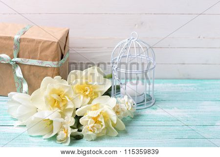 Daffodils Flowers, Candle And Gift Box