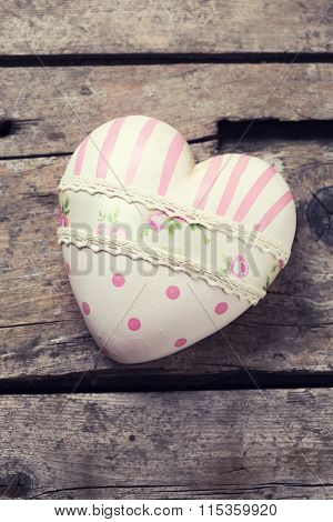 Decorative Pink Heart On  Vintage Wooden  Background.