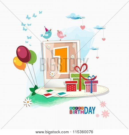 First Happy Birthday Color Card. Celebration Background With Number One
