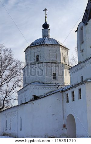 Nizhne Ablyazovo, Russia - January 02, 2016: View Of Ithe Stone Church Of The Nativity Of Christ In