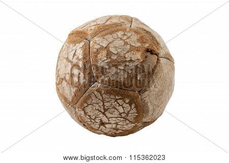 Small Old Worn Leather Soccer Ball, isolated